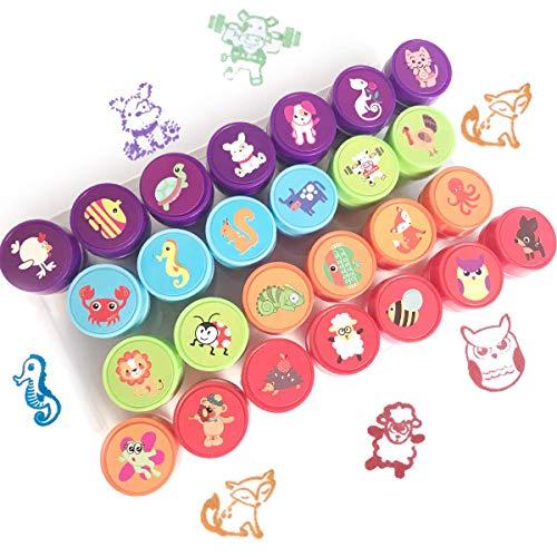 Txyk 26 Piezas Conjunto de Sellos Animales para Niños Plastico Sellos de Entintado para Niños Regalo de Fiesta Cumpleaños Educación Auto Entintado 6 Colores