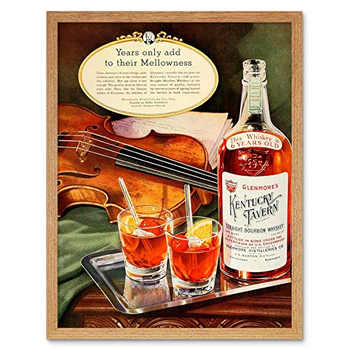 Wee Blue Coo LTD Vintage Advert Alcohol Kentucky Tavern Bourbon Whiskey Glenmore Art Print Framed Poster Wall Decor Kunstdruck Poster Wand-Dekor-12X16 Zoll