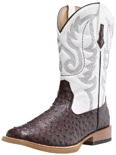 Roper Men's Ostrich Print Square Toe Cowboy Boot, Brown Faux Leather/Western Stitch, 13 D US