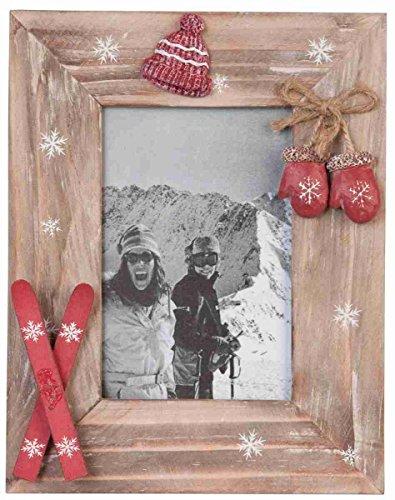Clayre & Eef 2269 Bilderrahmen/Fotorahmen 18 * 23 cm / 10 * 15 cm Holz ski Winter