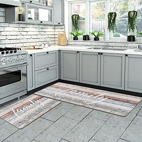 "ROSMARUS Farmhouse Family Kitchen Rug Set 17""x47""+17""x30"", Waterproof Non Slip Kitchen Rugs and Mats Anti-Fatigue Cushioned PVC Comfort Standing Kitchen Mat Kitchen Carpet (Beige)"