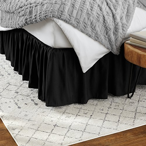 Amazon Basics Ruffled Bed Skirt - Twin, Black
