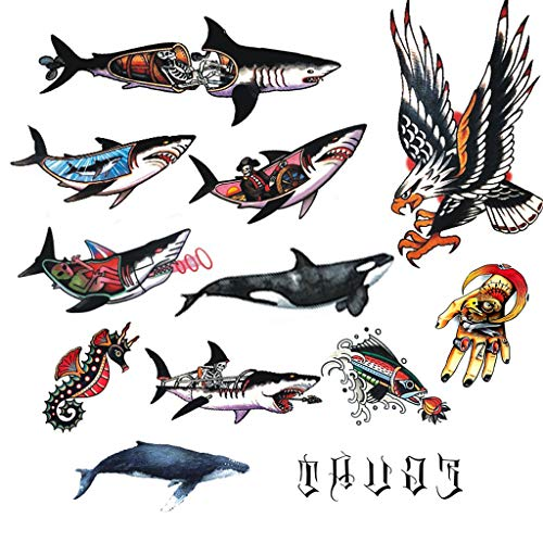 CARGEN Classic Temporary Tattoo Illusion World Eagle Tattoo Whale Tattoo Seahorse Tattoo Finger Tattoo Old School Stickers Waterproof Vintage Sticker