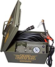 12 Volt Military Inspired Tire Inflator, Portable Air Compressor Tire Care and Repair System Packed in A Sturdy Water Resistant Ammo Can. Perfect for Jeep, 4 x 4, Off Road Tires