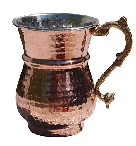 Orient-Feinkost Authentischer Becher aus Kupfer - Ayran Becher mit Henkel (ca. 0,4 Liter Volumen)