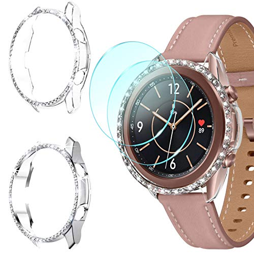 DABAOZA Compatible for Galaxy Watch 3 41mm Case with Screen Protector, [2 Bumpers+2 Protectors] Hard PC Bling Cover with Tempered Glass Protector for Samsung Galaxy Watch3 41mm(Clear+Silver, 41mm)