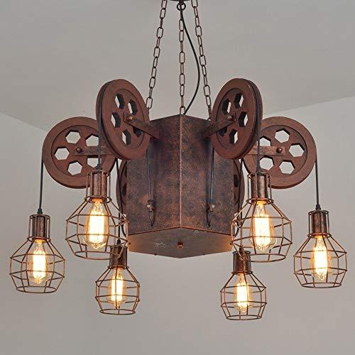 Luz colgante moderna 6 cabezas de hierro forjado gran araña de araña diseño creativo arte colgante lámpara angustiada óxido color colgando luces sala de estar sala de estar decoración luces colgantes