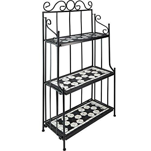 TecTake 800572 - Metallregal Mosaik, 3 Regalfächer aus Steinmosaik, geschwungener Metallrahmen - Diverse Farben (Schwarz-Weiß | Nr. 402771)