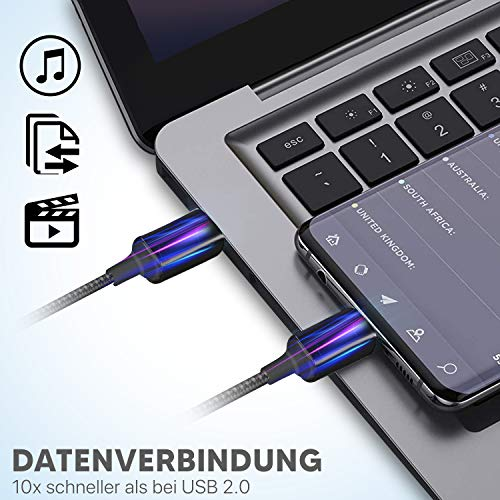 INVID USB C Kabel KURZ 30cm 10cm 17cm 23cm Längen USB Typ C Kabel, USB-C Ladekabel mit 65W Handy Ladekabel für MacBook,iPad Pro 2020,Galaxy S10 Plus USB C Datenkabel für Samsung Note