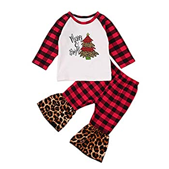 Toddler Girl Christmas Outfit Long Sleeve Christmas Top+Striped Bell Bottom Flare Pants Clothes Set  2-3 T Plaid Red 2
