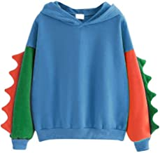 Women Color Block Long Sleeve Sweatshirt Matching Color Splice Dinosaur Hoodie Tops