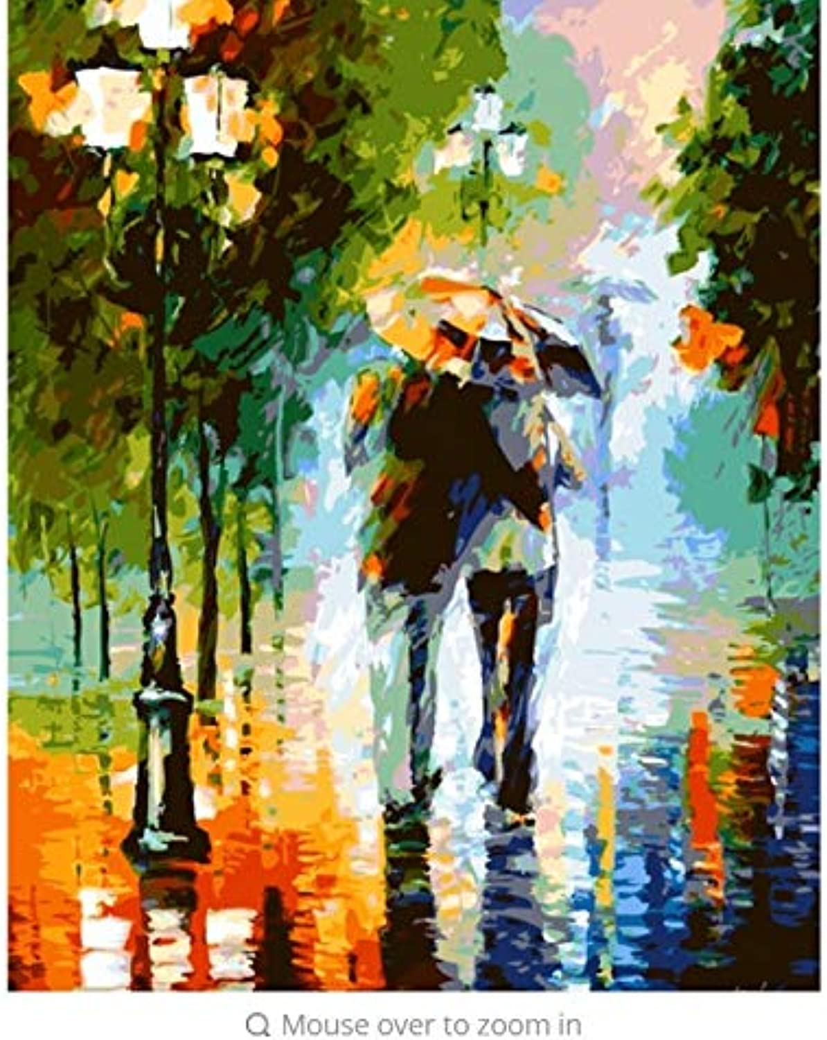 LIWEIXKY Modular Pictures DIY Digital Oil Painting By Numbers On The Canvas Rain Couple Of The Paintings On The Wall  Framed  50x60cm
