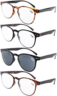 92890e928f Eyekepper 4-Pack Round Full Coverage Ultrathin Flex Frame Reading Glasses  Sunshine Readers