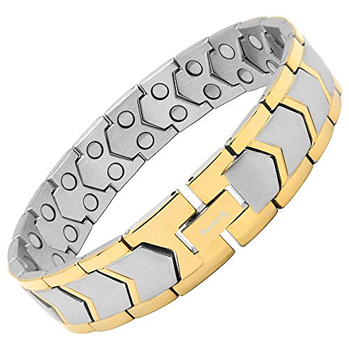 MagnetRX Ultra Strength Magnetic Bracelet - Arthritis Pain Relief & Carpal Tunnel Relief Magnetic Therapy Bracelets for Men - Adjustable with Sizing Tool (Silver & Gold)