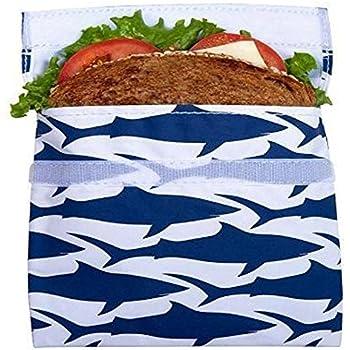 Lunchskins Reusable + Sealable, Sandwich Bag, Navy Blue Shark
