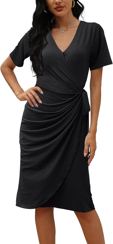 CHERFLY Women's V Neck Work Dress Midi Casual Sexy Wrap Dress with Waist Tie