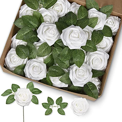 Groleca Artificial Flowers Real Touch Foam White Fake Roses 50Pcs with Stems for DIY Wedding Bouquets Bridal Shower Centerpieces Floral Arrangements Party Tables Home Decorations (White)