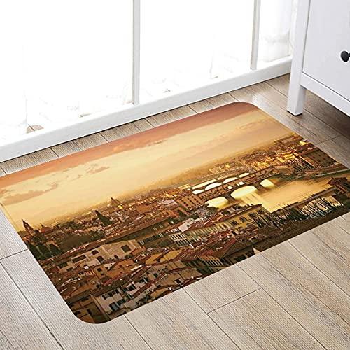 Alfombra de baño súper Suave de 50 x 80 cm,Wanderlust Decor, Puente Ponte Vecchio Italia Bird Eye Sunset View Castillo Casas Paisaje Urbano Alfombra de baño Absorbente Antideslizante