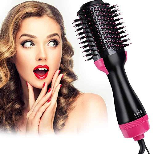 Föhn met kam professionele haardroger volumizer styler heteluchtborstel roterende ronde borstel Blowdryner sproeiers haardroger roze