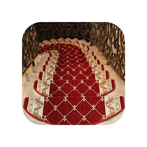 leaf-only Grey And White Rugs, Non-slip Stairs Carpet Self-adhesive European Pastoral Floral Rug Living Room Soft Stairway Stair Step Mat-Red 1-24x64cm