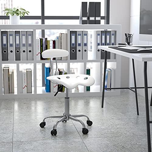 Flash Furniture Silla de escritorio giratoria con asiento mecánico, color Blanco y Cromado adecuados