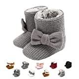 Nomere Baby Girls Boys Winter Warm Snow Boots Anti-Slip Soft Sole Bowknot Toddler First Walker Newborn Infant Booties Crib Shoes(Medium / 6-12 Months,B-grey)