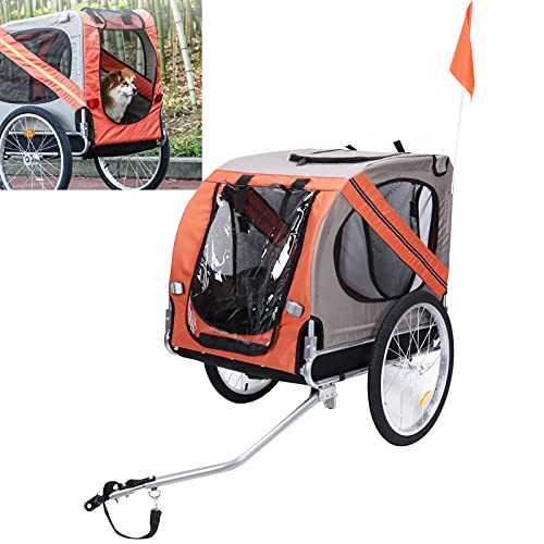Remolque para mascotas en bicicleta, remolque para transporte de mascotas seguro para acampar, caminar, caminar o andar en bicicleta