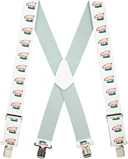 SuspenderStore Men's Pig Clip-End Novelty Suspenders - 2 Inch Wide (3 Sizes)