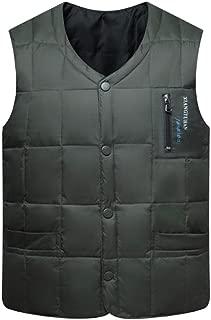 HiiWorld Thick Slim White Duck Down Vest Men Autumn Winter Warm Sleeveless V-Neck Button Down Bodywarmer Waistcoat