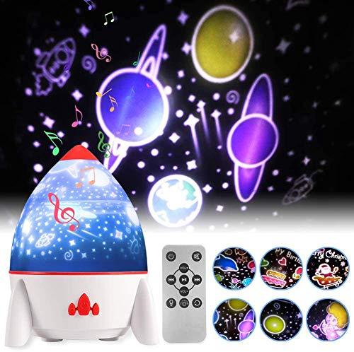 Projektor Lampe, CrazyFire Raketenform LED Sternenlicht Projektor mit Fernbedienung 360°Rotation und Timing Ferngesteuerte Nachtlicht für Kinderzimmer Deko Geburtstag, Weihnachten-mit 6 Filmsätzen