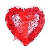 Sunnyuk Rose Seifenblume, 24 Köpfe Rose Bad Körper Blütenblatt Rose Flower Soap (Rot)