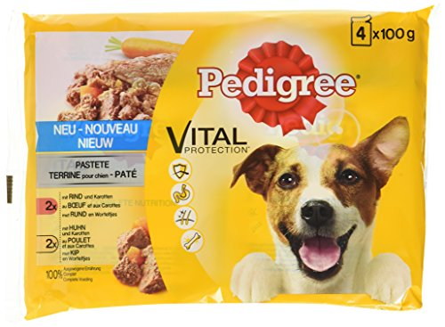 Pedigree Vital Protection Hundenassfutter im Beutel – Hundefutter als Pastete mit Rind & Karotten und mit Huhn & Karotten – 52 Beutel (13 x 4 x 100g Großpackung)