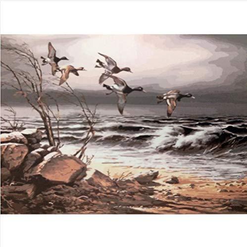 Digitale olieverfschilderij diy handgeschilderde kleuren vogel schilderen ganzen frameloze veranda woonkamer decoratief schilderen olieverfschilderij-Frameloos_15,7 x 19,7 inch (40 x 50 cm)