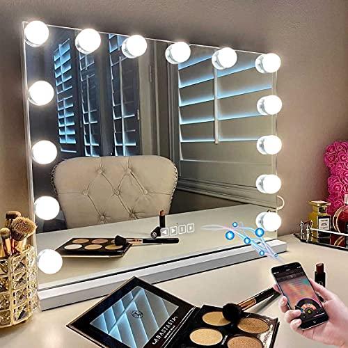 Hansong Espejo de tocador con luces, espejo de maquillaje Hollywood con 3 modos de iluminación de color, espejo de maquillaje delgado con puerto de carga USB y Bluetooth