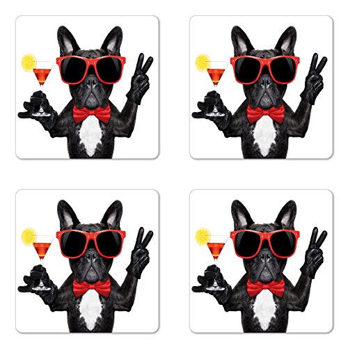 Lunarable Funny Coaster Set of 4, French Bulldog Holding Martini Cocktail Ready for the Party Nightlife Joy Print, Square Hardboard Gloss Coasters, Standard Size, White Black