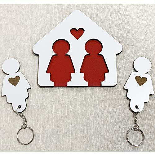 Llaveros para Parejas Mujeres | Organizador de Llaves para pareja Mujeres | Cuadro de madera con 2 llaveros | Regalo original ideal de San Valentín para Parejas | Regalo para ella