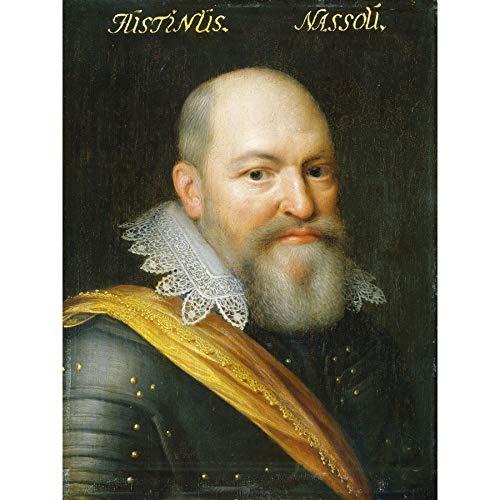 Van Ravesteyn Portrait Justinus of Nassau Premium Wall Art Canvas Print 18X24 Inch Porträt Wand