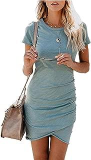 Tshirt Dresses for Women - Cute Tulip Cut Ruched Bodycon Mini Dresses Sheath Sundress