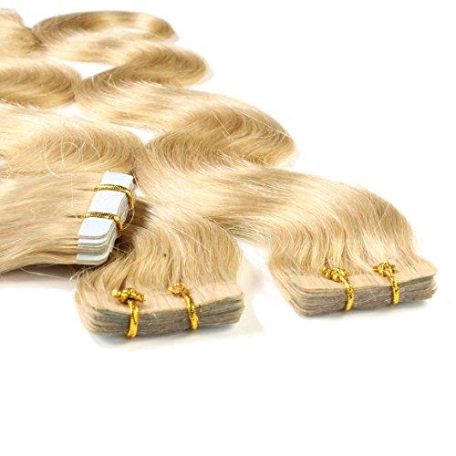hair2heart 40 x 2.5g Tape In Echthaar Extensions, 50cm - gewellt - #22 goldblond