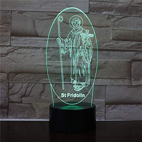 Vision Creative 7 Colors St Fridolin Modelling 3D Led Desk Lamp Gifts Usb Jesus Cross Bedside Night Light Lighting Decor 1851
