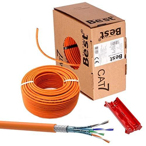 SatShop-Ft 50m CAT 7 Verlegekabel Netzwerkkabel CAT.7 LAN Halogenfrei Installationskabel CAT7 Kabel Netzwerk Verkabelung Datenkabel Gigabit Kupfer Ethernet (50m Abrollbox, Cat 7 + Abisolierer)