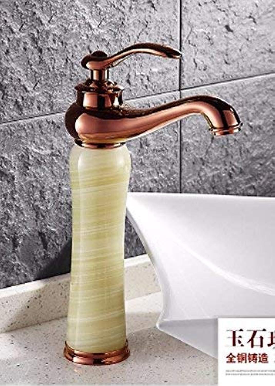 FUWUX Home Waschbecken Mischbatterie Badezimmer Küchenbecken Wasserhahn Dicht Wasserdicht Kaltwasser Kupfer Goldene Becken-breite Marmor Antik B
