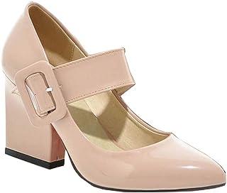 [山本道] パンプス 歩きやすい 太ヒール チャンキーヒール パンプス ポインテッドパンプス ストラップ 結婚式 大きいサイズ 靴 ヒール約8.5cm 白 黒 大きい レッド ベージュ 就活 靴