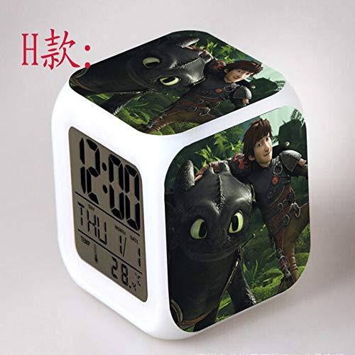 shiyueNB Wie trainieren Sie Ihre Dragon Relogio Digital LED Bunte Bunte blinkende Wecker Kinderspielzeug Schlafzimmer Nachtlicht Uhr