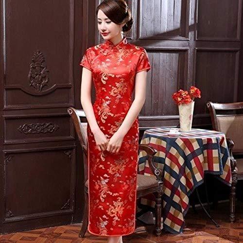 RSM Chinese Dresses Cheongsam Dragon Phoenix Long Qipao Dress Sexy Split Tang Costume Lady Banquet Qipao,Red Dragon,XXXL