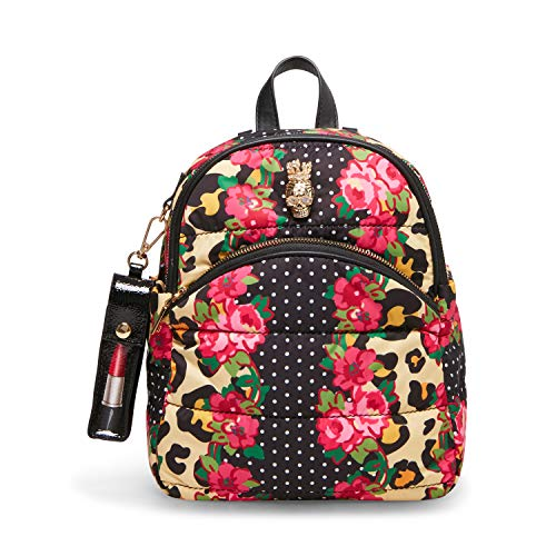 Betsey Johnson Women's Pretty Puffer Midi Backpack, Floral, 9' L x 3.75' D x 11' H