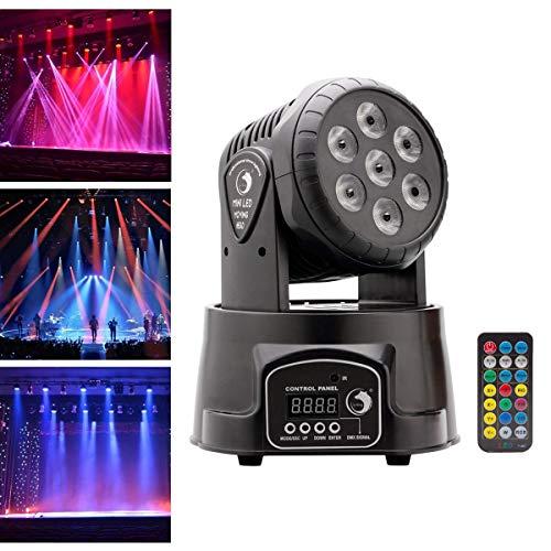 Ligua podiumlicht 7x10 Watt 4 kleuren RGBW LED met auto afstandsbediening DMX512 besturingsmodus Moving Head voor DJ KTV Disco Party Ballroom verlichting mit Fernbedienung zwart