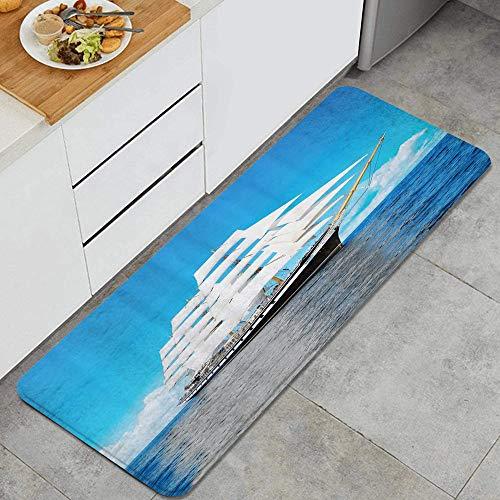 ZORMIEY Alfombras Cocina Lavable Antideslizante Alfombrilla de Goma Alfombra de Baño Alfombrillas Cocina 45x120cm,Paseo en velero en el mar