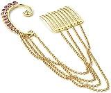Para niñas Fashion de mujer traje de baño 1 pc de cristal de color dorado con gancho para oreja para Juego de pendientes de rosa peine tamaño 3 cm peine