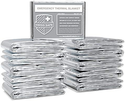 Swiss Safe Emergency Mylar Thermal Blankets Bulk 10pk 25pk Designed for NASA Outdoors Hiking product image